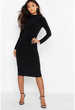 Black Petite Slinky High Neck Midi Dress