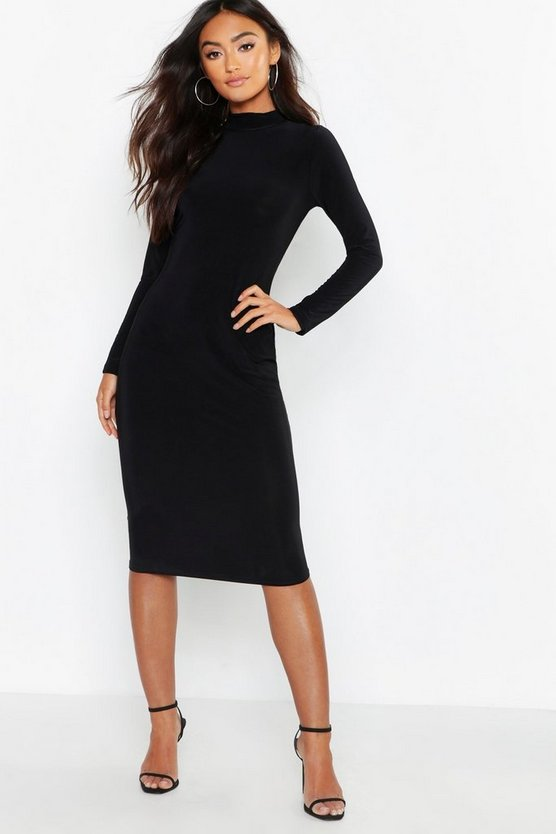 Womens Black Petite Slinky High Neck Midi Dress