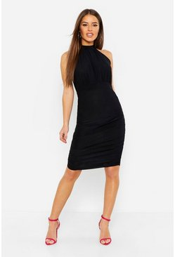 Womens Black Petite High neck Ruched Bodycon Dress