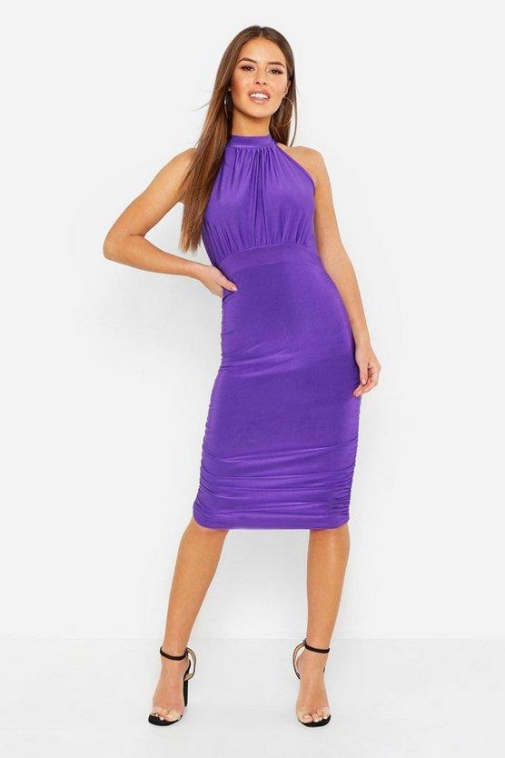 Womens Purple Petite High neck Ruched Bodycon Dress