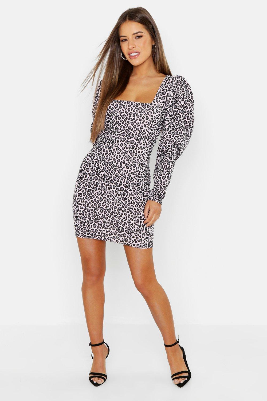 Petite Leopard Jacquard Oversized Sleeve Dress