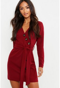 Berry Petite Horn Button Belted Wrap Dress