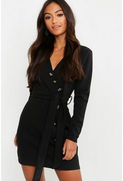 Black Petite Horn Button Belted Wrap Dress