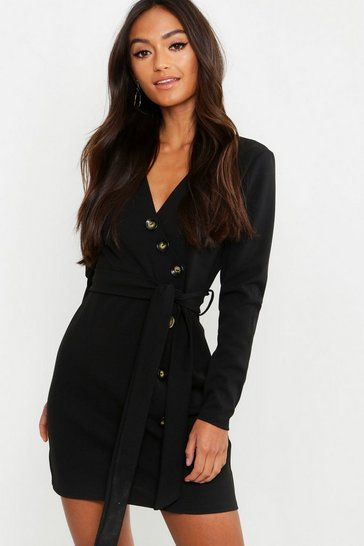 Womens Black Petite Horn Button Belted Wrap Dress