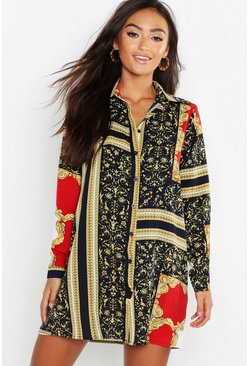 Multi Petite Chain Print Shirt Dress