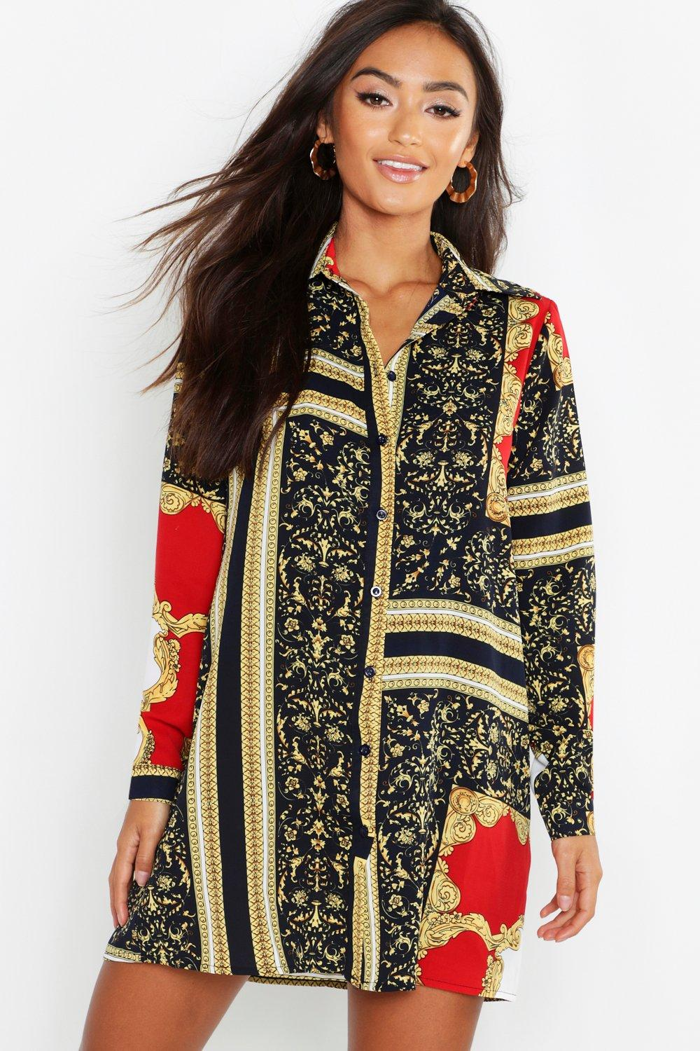 887af58d502f Womens Multi Petite Chain Print Shirt Dress. Hover to zoom