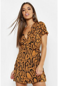 Rust Petite Animal Print Woven Wrap Dress