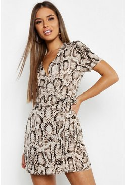 Womens Stone Petite Animal Print Woven Wrap Dress