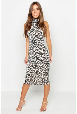 Womens Stone Petite Zebra Print Sliny High Neck Dress