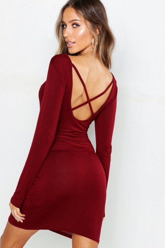 Womens Berry Petite Cross Back Bodycon Dress