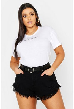 Womens Black Plus Distressed Denim Short