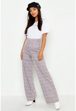 Womens Wine Petite Check High Waist Straight Leg Pants