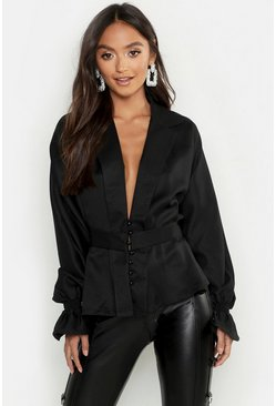 Womens Black Petite Button Front Plunge Blouse
