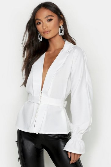 Womens Ivory Petite Button Front Plunge Blouse