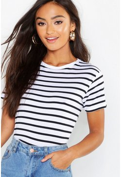 Womens White Petite Cotton Striped Boxy Fit T-Shirt