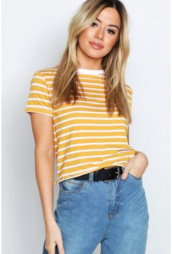 Mustard Petite Stripe Raw Hem Cropped T-Shirt