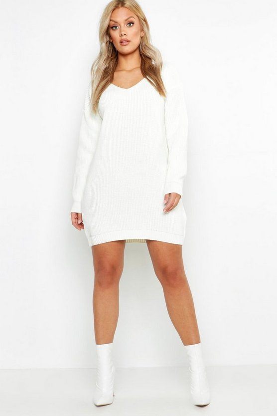 Womens Ivory Plus V Neck Sweater Mini Dress
