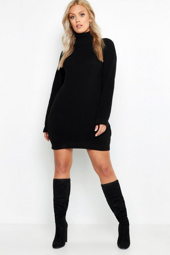 Womens Black Plus Roll Neck Sweater Dress