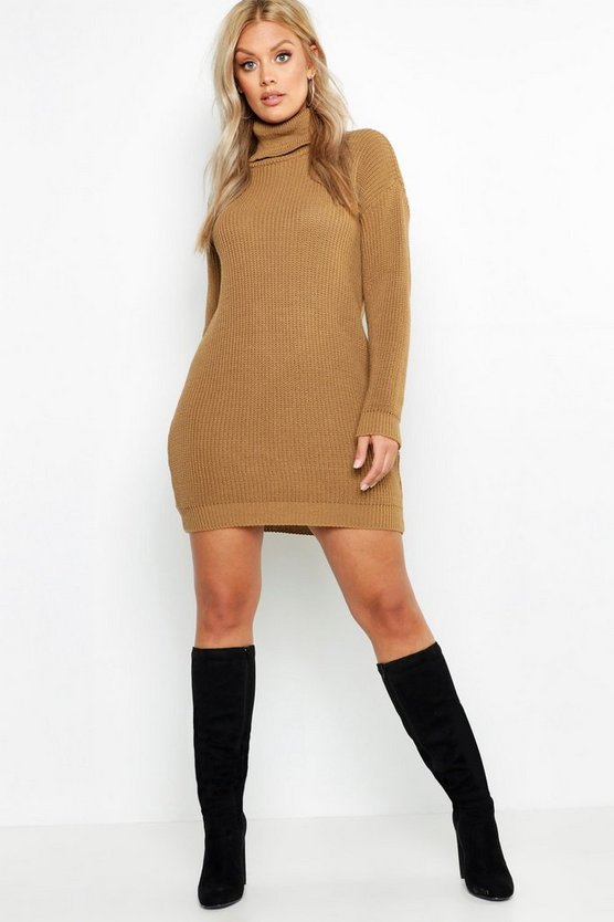 Womens Camel Plus Roll Neck Sweater Dress