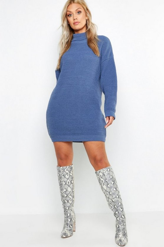Womens Denim-blue Plus Roll Neck Jumper Dress
