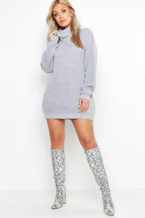 Womens Silver Plus Roll Neck Sweater Dress