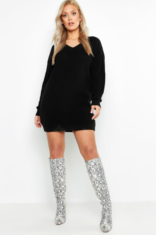Plus V-Neck Jumper Dress