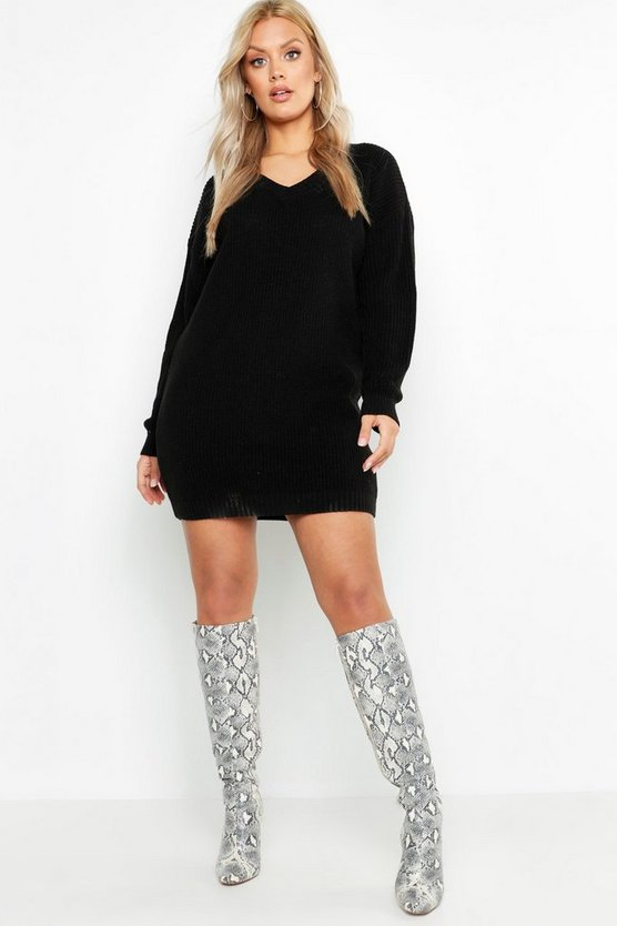 Plus V-Neck Jumper Dress