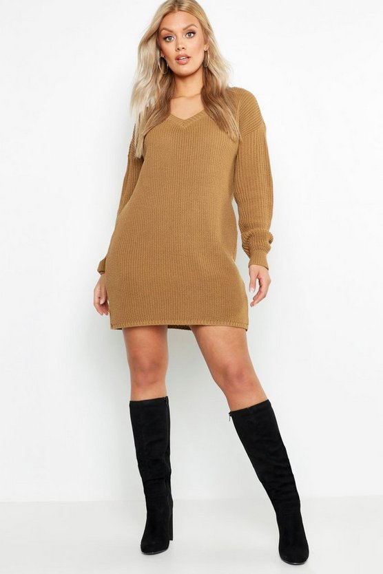 Plus V-Neck Sweater Dress