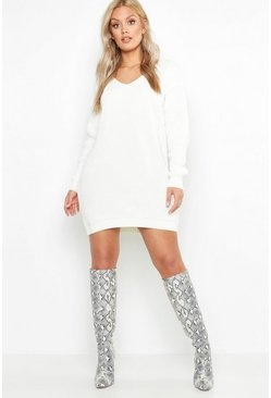 Cream Plus V Neck Jumper Mini Dress
