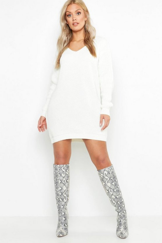 Plus V Neck Jumper Mini Dress