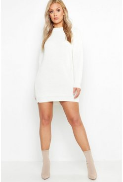 Womens Cream Plus Crew Neck Jumper Dress