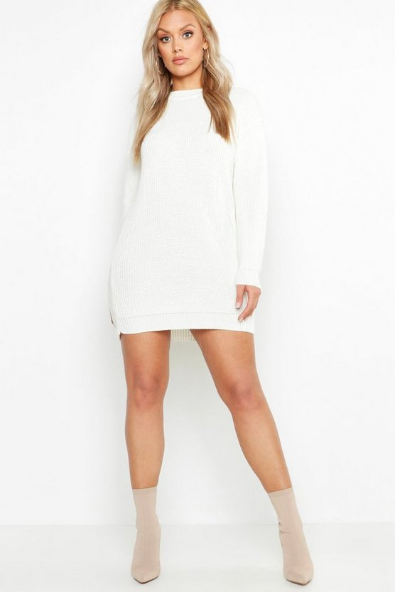 Plus Crew Neck Sweater Dress