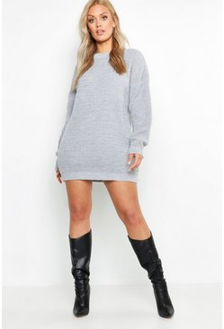 Womens Silver Plus Crew Neck Jumper Dress