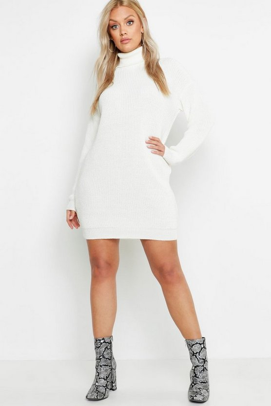 Womens Ivory Plus Roll Neck Jumper Dress