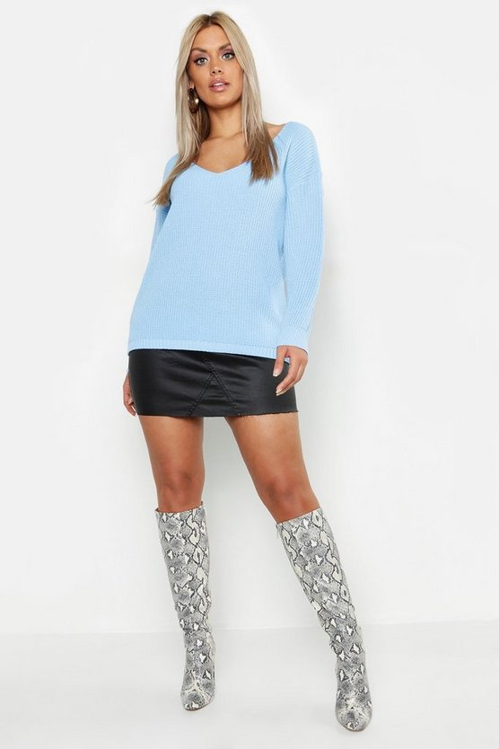 Sky Plus Oversized V Neck Jumper