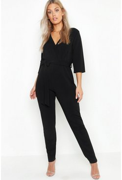 Womens Black Plus Wrap Tie Belt Jumpsuit