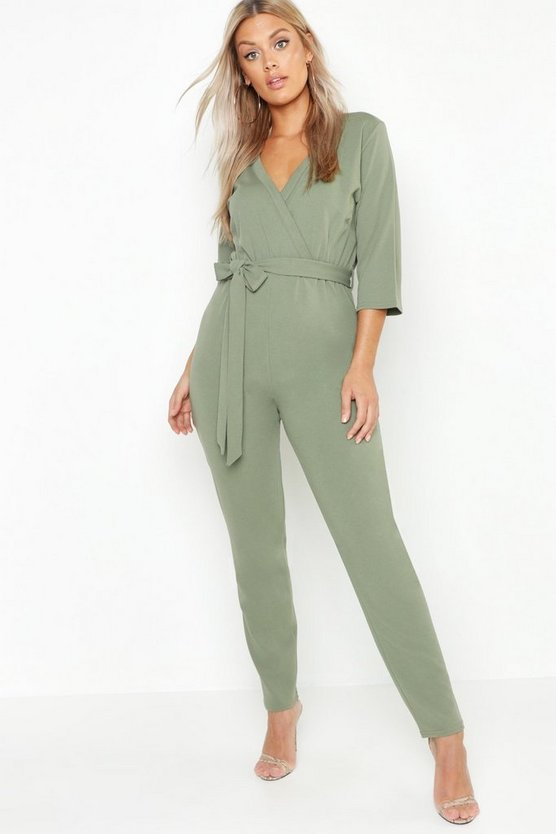Womens Sage Plus Wrap Tie Belt Jumpsuit
