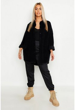 Womens Black Plus Raw Edge Oversized Cord Shirt