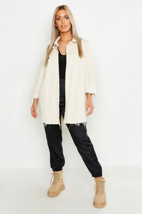 Womens Ecru Plus Raw Edge Oversized Cord Shirt
