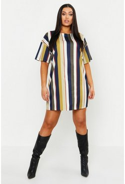 Womens Mustard Plus Tonal Stripe Short Sleeved Shirt Dress