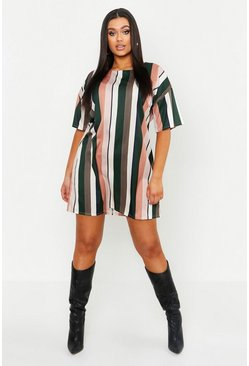 Rose Plus Tonal Stripe Short Sleeved Shirt Dress