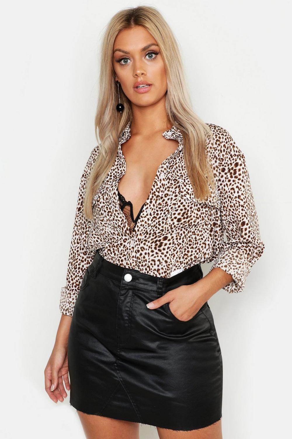 6770b2ca1d Plus Leopard Print Shirt. Hover to zoom