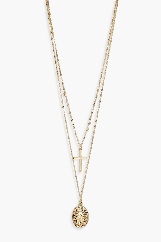 Plus Cross Pendant Layered Choker Necklace