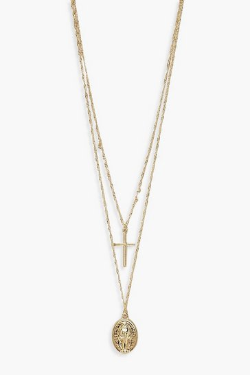 Womens Gold Plus Cross Pendant Layered Choker Necklace