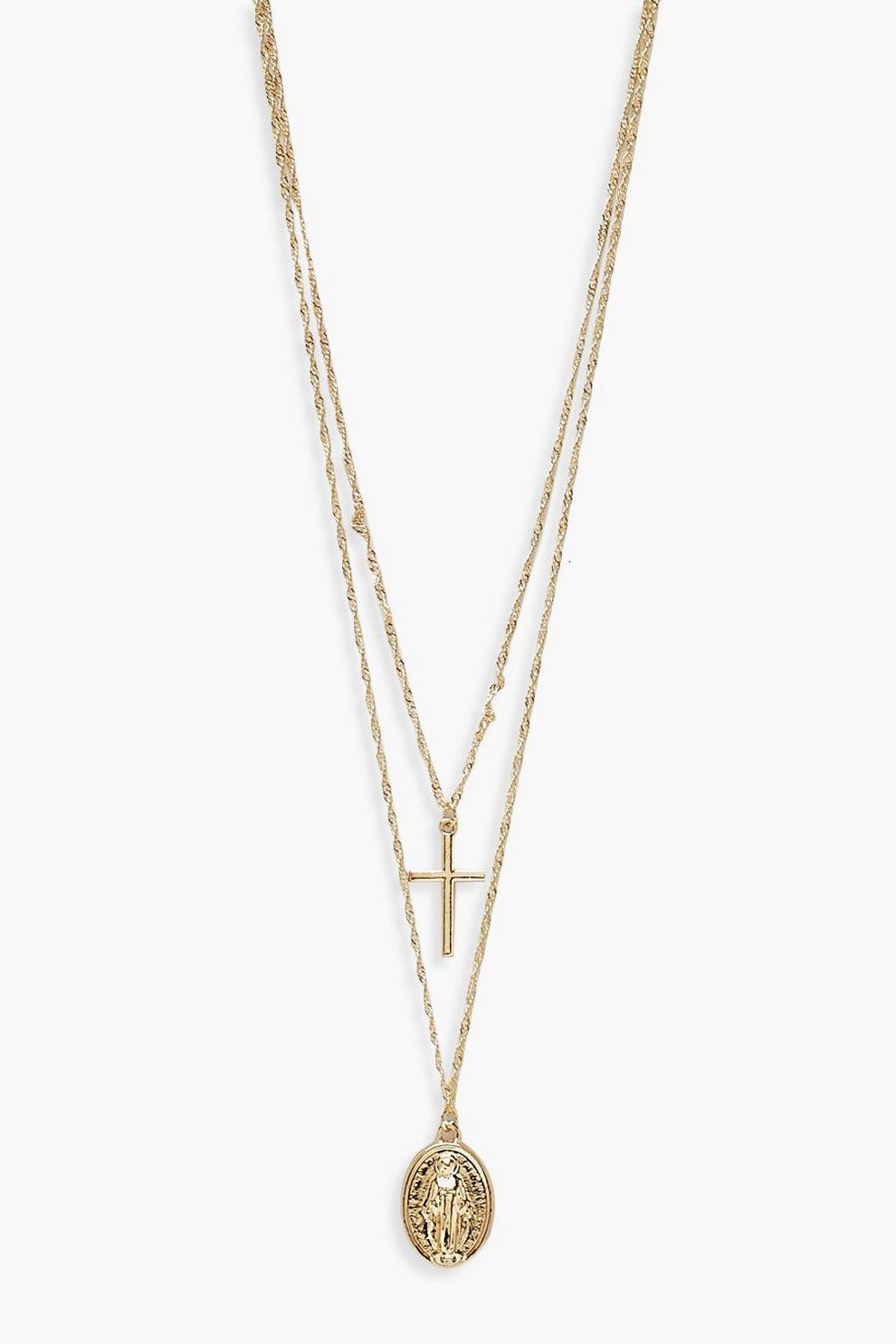 0f728a85fdc5 Collar tipo gargantilla con colgante de cruz en capas Plus