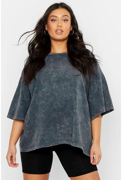 Charcoal Plus Oversized Acid Wash T-Shirt