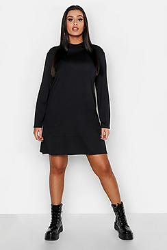 Plus Basic Long Sleeve A-Line Dress