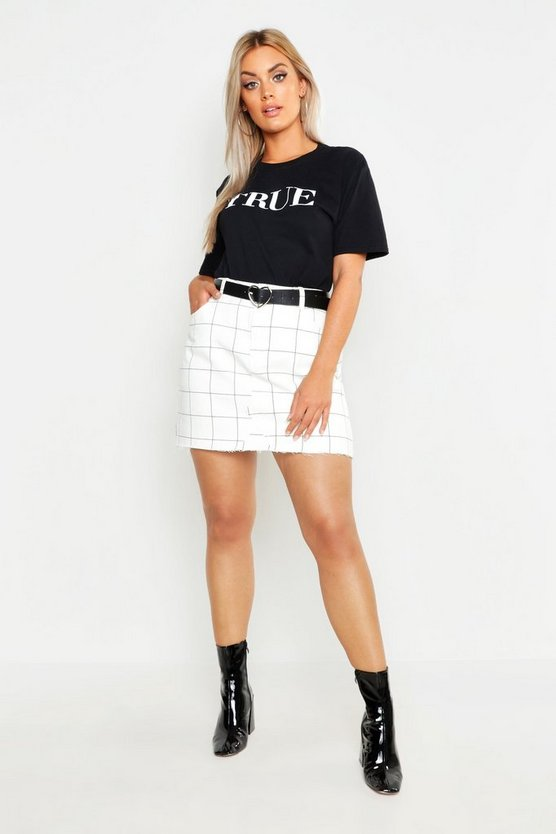 Womens White Plus Window Pane Check Denim Skirt