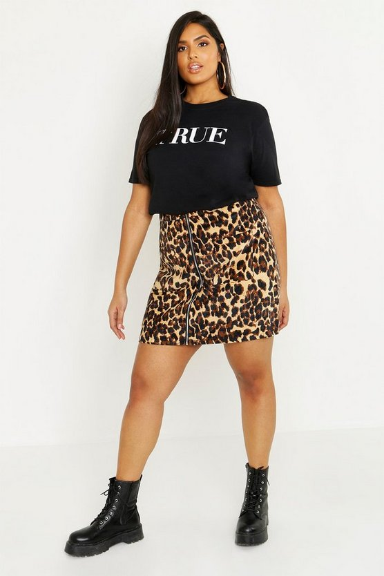 Plus Cord Animal Mini Skirt