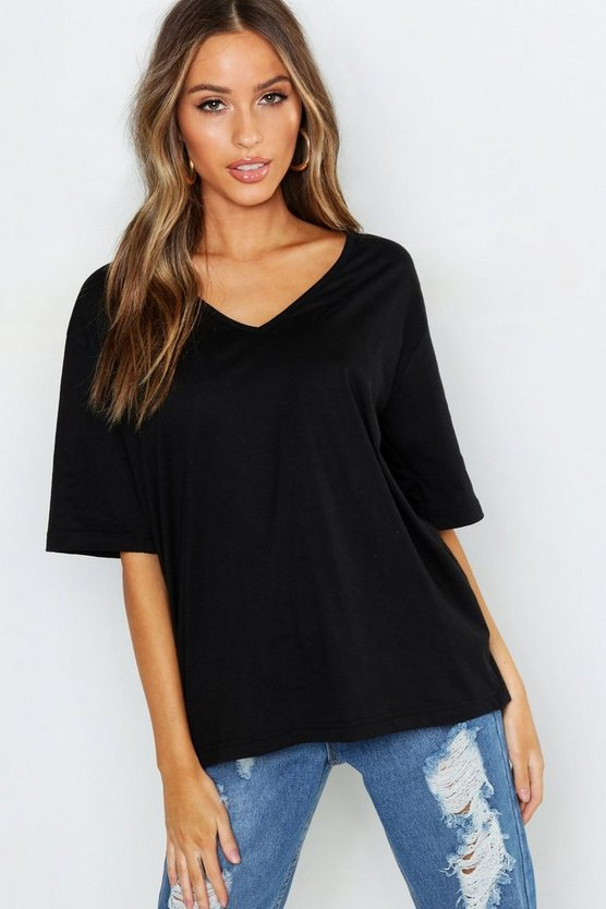 Womens Black Petite Oversized V-Neck T-Shirt